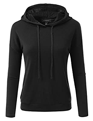 JJ Perfection Women's Long Sleeve French Terry Hoodie With Suede Elbow Patch