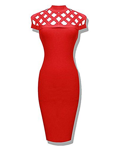 Whoinshop Women's High Neck Lattice Bodycon Midi Bandage Dress (XL, Red)