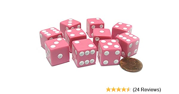 Set of 10 Six Sided Square Opaque 16mm D6 Dice Pink with White Pip Die Koplow Games SG/_B00NBH6TCW/_US