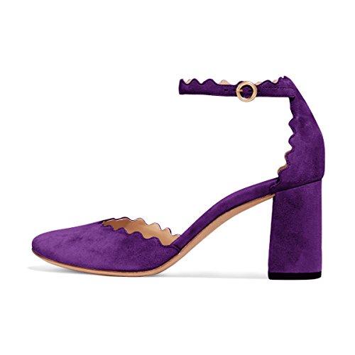 Fsj Mujer Cómodo Tobillo Correa Bombas Block Chunky Heels Punta Redonda Dorsay Zapatos Tamaño 4-15 Us Purple
