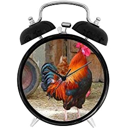 47BuyZHJX Unique Retro Style Decoration-Crowing Rooster,4 Twin Bell Alarm Clock with nightlight, Battery Operated, Loud Alarm for Sleepers, on Bedside/Desk/Table for Home/Office