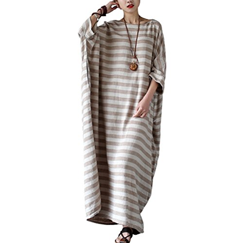 Aeneontrue Women's Linen Casual Stripes Plus Size Dresses...
