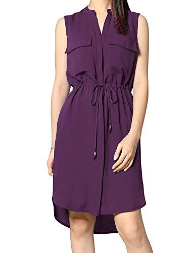 Drawstring Neck Dress (Allegra K Woman Single Breasted Drawstring Sleeveless Dress Purple)