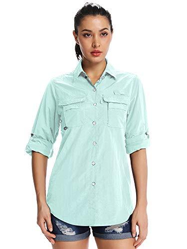 Women's Fishing Shirts UV Sun Hiking Shirts Long Sleeve Quick Dry for Camping Safari Cool Button Down Shirts