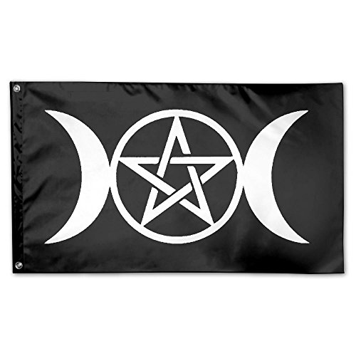 Triple Moon Pentacle Pagan Platinum 100% Polyester Fiber Fla