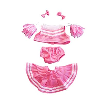 "Pink & White Cheerleader Uniform Outfit Clothing Fits 8""-10"" Most Webkinz, Shining Star and 8""-10"" Make Your Own Stuffed Animals and Build-A-Bear: Toys & Games"