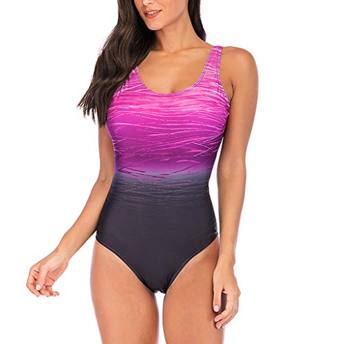 Lissom Women's One Piece Swimsuits for Women Athletic Training Swimsuits Square Neck Cheeky Swimwear Bathing Suits for Women Purple ()