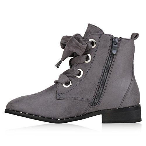 Stiefelparadies Damen Stiefeletten Leicht Gefütterte Outdoor Worker Boots Flandell Grau Nieten
