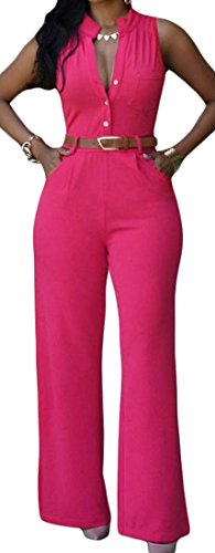 Papijam Womens Classic Sleeveless Slim Solid Straight Leg Jumpsuits rose red M Classic Ruffle Capri Pajama