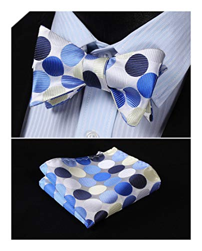 Dot Jacquard Woven Self Bow Tie Set One Size Blue / Beige ()