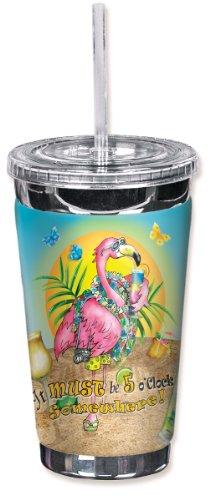 "Mugzie 723-TGC""Flamingo Drinking"" To Go Tumbler with Insulated Wetsuit Cover, 16 oz, Black"