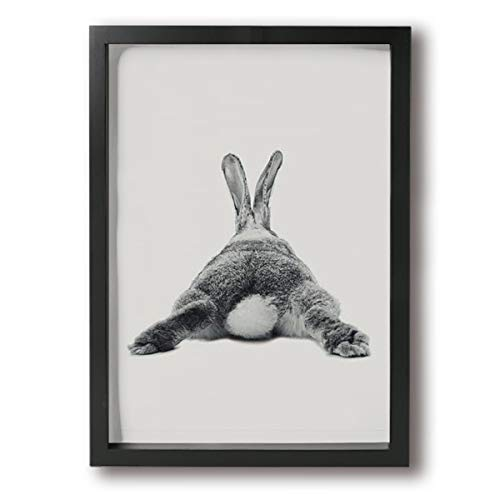 (Kingsleyton Bunny Rabbit Butt Wall Decor Painting Framed Canvas Prints Paintings Artwork Ready to Hang for Wall Decor 9x13)