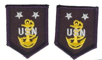 Navy Master Chief (E9) Rank Insignia Collar Device (pair) Patch ()