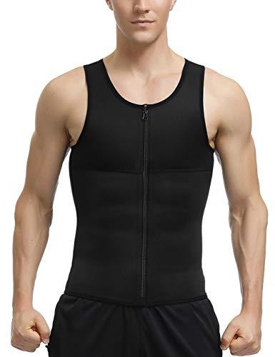 Sekluxy Men's Sauna Suits Waist Trainer Vest Slim Belt Workout Zipper Body Shaper Tank Top M (Best Slim Suits For Men)