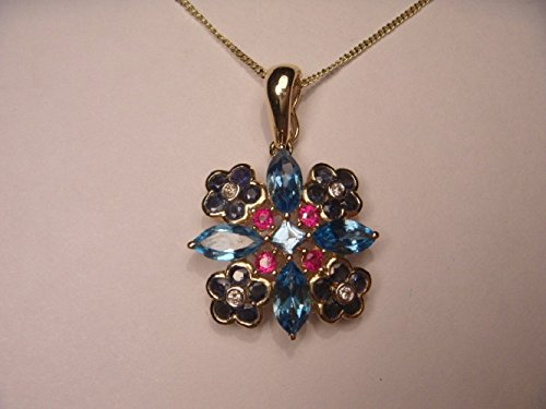 Gorgeous Floral 14K Yellow Gold Sapphire Ruby Blue Topaz Pendant (14k Ruby Slide)