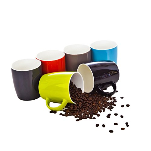 6 XXL Kaffeebecher Set Keramik 400ml in 6 schöne Pastell Farben