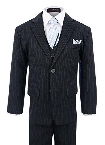 [Boy's Formal Pinstripe Dresswear Suit Set #G220 (16, Navy)] (Navy Pinstripe Dress)