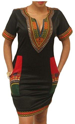 Sleeve Dresses Dashiki Neck Jaycargogo Short Stretchy Floral Womens L 2 V f6qE18SFw