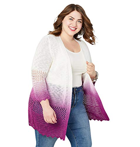 Avenue Women's Dip Dye Cardigan, 26/28 Purple