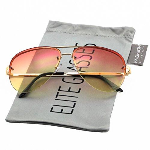 Orange Gradient Frames - Elite Gradient Oceanic Lens Oversized Rimless Metal Frame Unisex Aviator Sunglasses (Gold Frame/Orange Yellow Lens, 2.5)