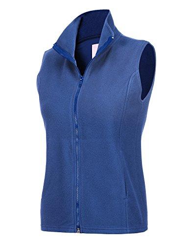 REGNA X Women's Casual Stand Collar Full Zip up Fleece Vest Jacket Blue XL (Full Womens Fleece Vest)