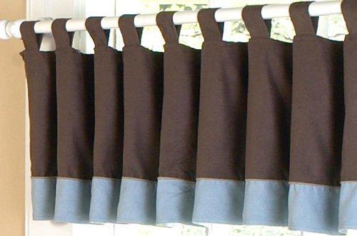 Sweet Jojo Designs Window Valance - Soho Blue and Brown - Designer Soho Stores
