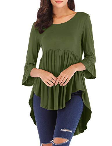 Womens High Low Flare Blouse 3/4 Bell Sleeve Tops Casual Tunic Tops Army Green 2XL