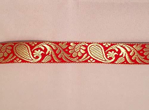 Vintage Jacquard Ribbon - Red & Metallic Gold Paisley