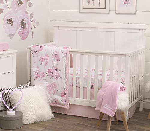NoJo 4 Piece Nursery Crib Bedding Set, Watercolor Floral, Pink/Rose/White/Brown (Baby Girl Bedding Sets Pink And Brown)