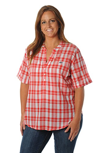 Ohio State University Top - UG Apparel Ohio State University Buckeyes Plus Size Women's Short Sleeve Plaid Top, Red, 1X