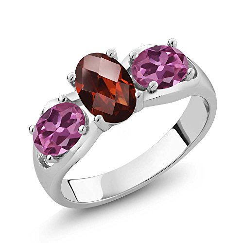 Gem Stone King 1.80 Ct Oval Checkerboard Red Garnet Pink Tourmaline 925 Sterling Silver Ring (Size 6)