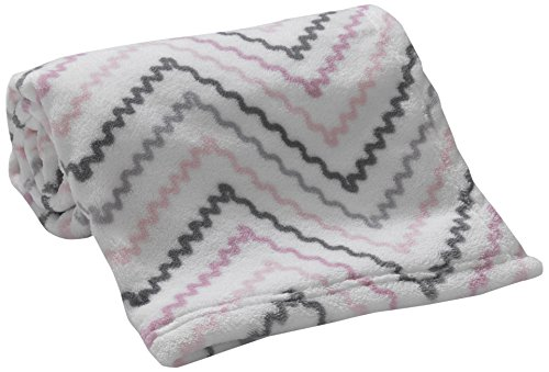 Lambs & Ivy Bunny Collection Coral Fleece Blanket, Chevron Bunny Fleece Blanket