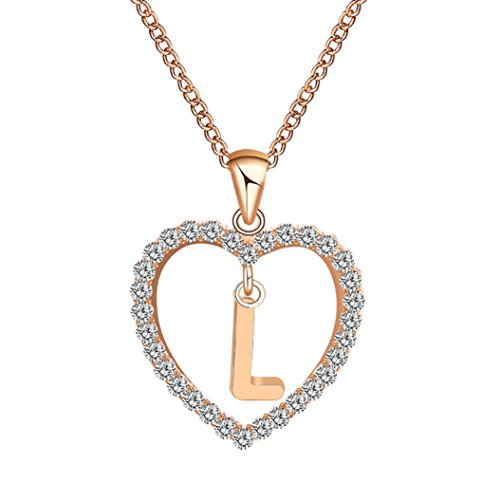 Caopixx Ladies Pendant, Women Gift 26 English Letter Name Chain Pendant Heart Rhinestone Necklaces Jewelry Presents 2018 (L, (Rhinestone Horseshoes)