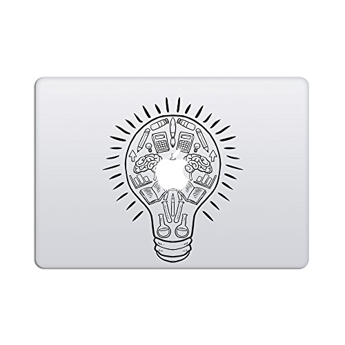 Artsybb Creative Brain in Idea Light Bulb Removable Vinyl Decal Sticker Skin for Apple MacBook Air Pro 13