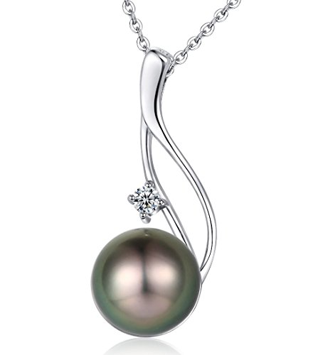 Authentic Tahitian Cultured Black Pearl Pendant Necklace 9-10mm Round 18K Gold Plated 925 Sterling Silver by CHAULRI