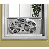 Bionaire Twin Window Fan with Remote Control and Programmable Digital Thermostat 3-Speed settings with Adjustable extender screen