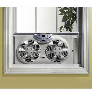Bionaire Twin Window Fan With Remote Control And