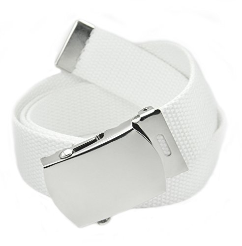 Classic Silver Men's Military Slider Buckle with Canvas Web Belt X-Large White