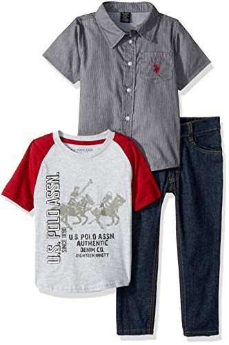 U.S. Polo Assn. Boys' Toddler Short Sleeve, T-Shirt and Pant Set, Grey Woven with Printed Tee Multi Plaid 3T