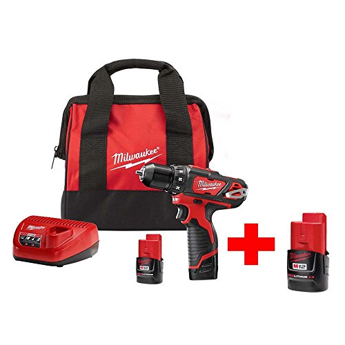 Milwaukee 2407-22-48-11-2420 M12 12-Volt Lithium-Ion Cordless 3/8 in. Drill/Driver Kit With Free M12 2.0Ah Battery