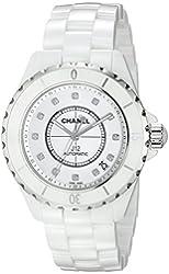 Chanel Men's H1629 J12 Diamond White Dial Watch