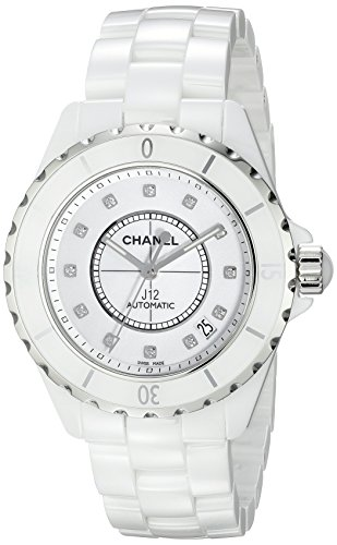Chanel Men's H1629 J12 Diamond White Dial Watch (Chanel J12 White Ceramic Watch)
