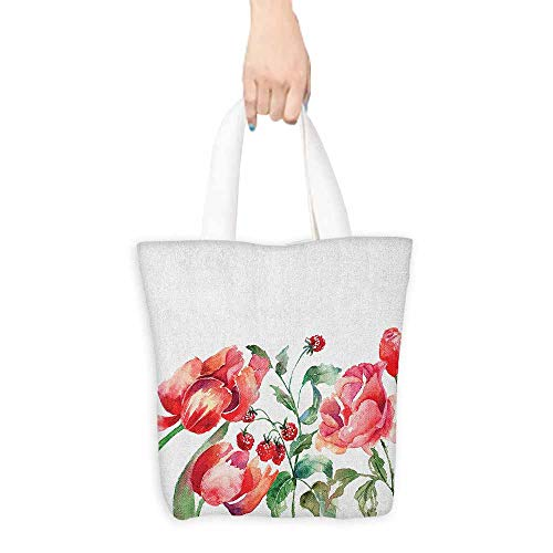 - Washable tote,Watercolor Grunge Inspired Botanical Arrangement of Fruits and Flowers Ecology,Reusable Grocery Bags,16.5