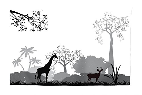Lunarable Safari Tapestry, Silhouette of Savannah with Giraffe Deer and Trees Wild African Safari Region Theme, Fabric Wall Hanging Decor for Bedroom Living Room Dorm, 45 W X 30 L inches, Grey White
