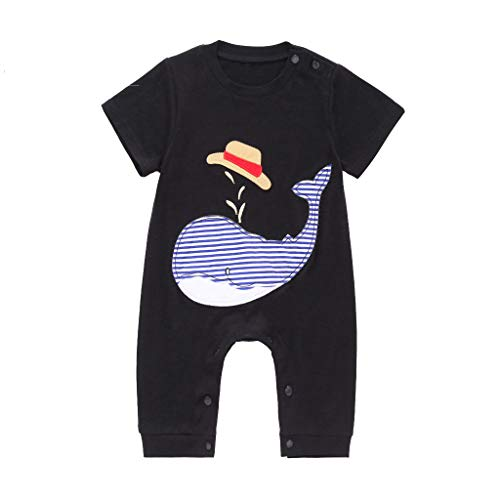 LiLiMeng 2019 New Toddler Kids Baby Boys Cartoon Print Short Sleeve Long Romper Jumpsuit Outfit Cotton Clothes Summer Black ()