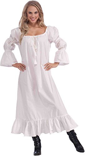 Long White Dress Costume (Forum Novelties Women's Medieval Chemise Costume Accessory, White, One Size (Best Fit 14/16))