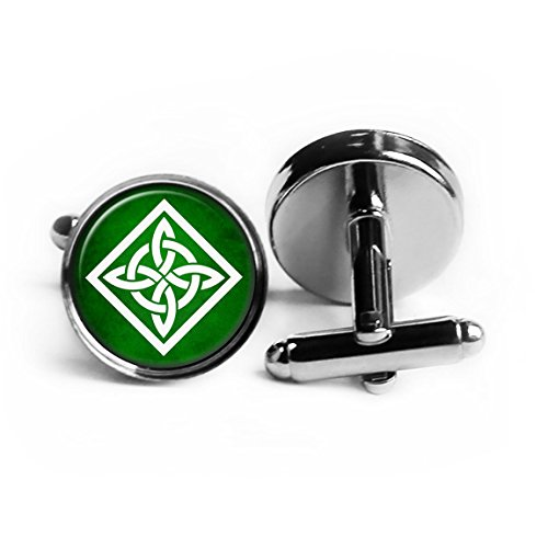 (Celtic Knot Square White on Green Rhodium Plated Silver Cufflinks)
