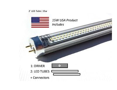 2', 30W LED Retrofit Kit for 2'x2' Fixture: (2) 15W 40k LED Tubes & (1) Driver, Ideal for Delamping