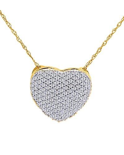 Wishrocks Cubic Zirconia Heart Pendant Necklace 18K Gold Over Sterling (18k Over Sterling Silver Pendant)