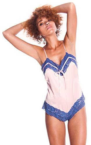 (Women's Silky Matte Satin Teddy Romper #1089 (S-3X) (M,)